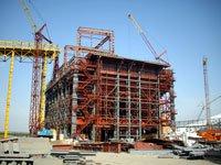 Construction of indoor  mine coal accumulator with capacity of 15 thousand tons at Krasnoarmeyskaya Zapadnaya №1 colliery